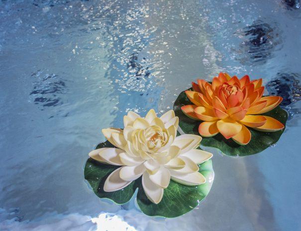 fiori nella vasca idromassaggio del centro benessere del villaggio